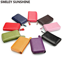 SMILEY SUNSHINE Genuine Leather Card Holder Business id Credit Card Wallet Case Bag Cardholder Men Women Wallet For Card carte(China)