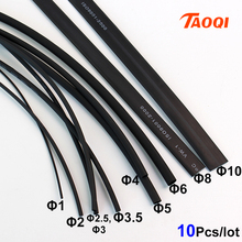 10Meters/lot Heat Shrink Tube 1mm 2mm 2.5mm 3mm 3.5mm  4mm 5mm 6mm 8mm 10mm Black Cable Sleeve Wrap Wire kit