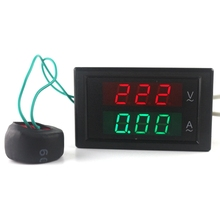 AC80-300V 100A LED Digital Voltmeter Ammeter Current Meter Ampere Panel Guage Red Green Dual Display Coil Free Shipping(China)