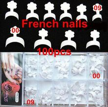 100pcs 10 sizes new french nails false short nails white short wrap french tips style acrylic nails packed box(China)