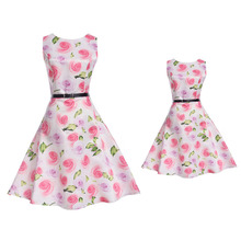 Brand Children's Clothing Family Matching Outfits Print Sleeveless Mom Girls Dress Fashion Mother Kids Princess Dress 6-12Y Belt