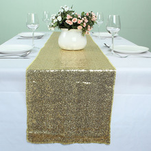 30 x 275 cm - Light Gold Glitz Banquet Sequin Table Runners Wedding Party Table Decoration