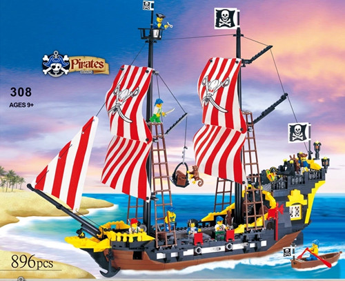 870 Pcs Pirates Series  Enlighten 308 Black Pearl Model Building Blocks Kit Bricks Educational Toys Gifts Compatible With Lego<br>