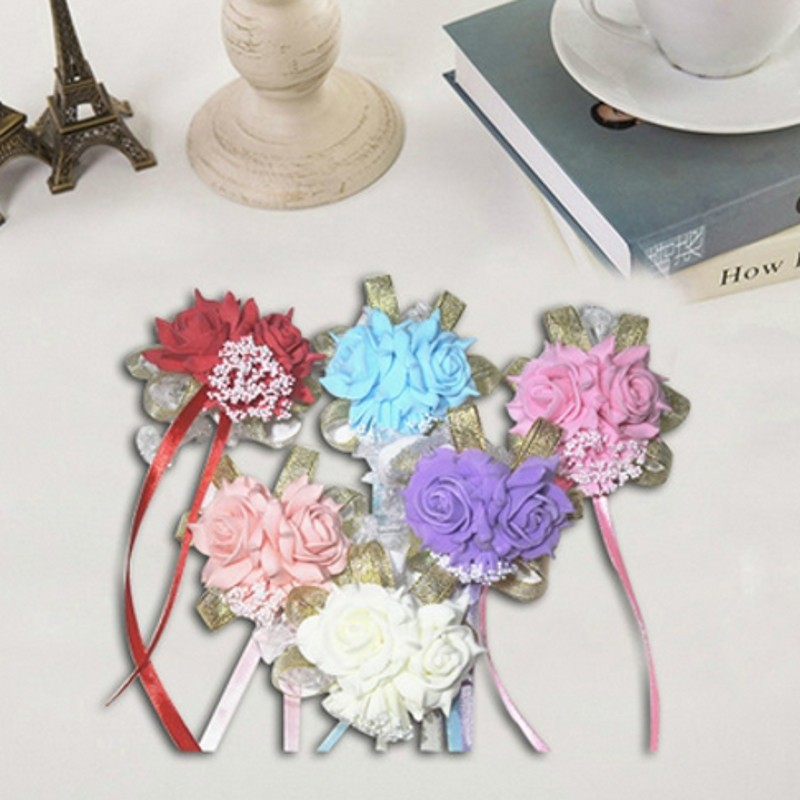 Silk Rose 50pcs Wedding Artificial Flower Church Wrist Handmade Anniversary Decor Boutonniere Prom Corsage(China)