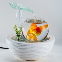 Ceramic Lucky Water Fountain Feng Shui Ornament Creative Indoor Air Humidifier Bowl Fish Tank New Year Home Decoration Gift(China)