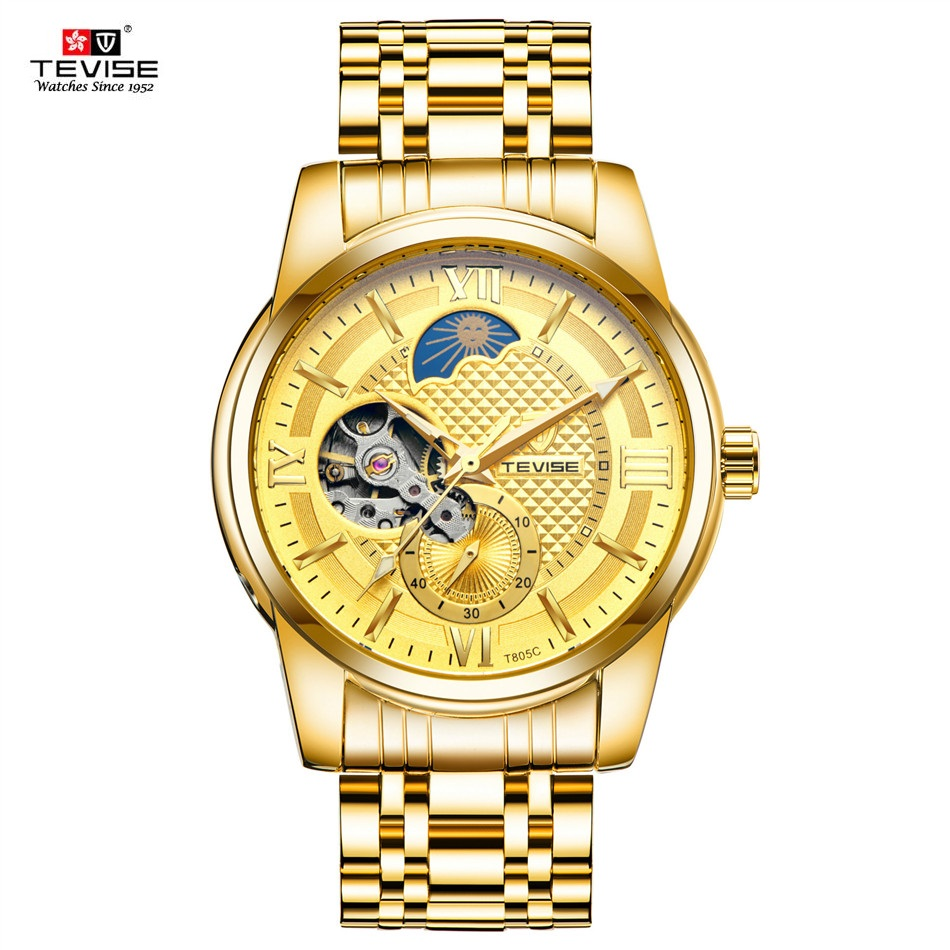 TEVISE Gold Mechanical Wrist Watch Men Automatic Male Clock Moon Phase Tourbillon Men Hour Waterproof Luminous Business Watches<br>
