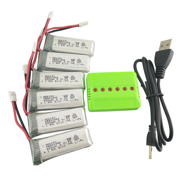 Hubsan X4 H107P 5PCS 3.7V 520mah battery and 5 in 1 charger helicopter battery H107P-09 spare parts for aircraft<br><br>Aliexpress