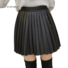 Buy DOSOMA Women pu leather pleated skirt autumn 2017 winter high waist solid black A-line skirts ladies vintage short mini skirts for $13.38 in AliExpress store