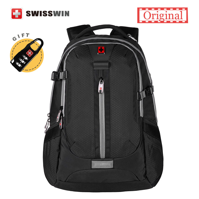 Swiss Mens Backpack 15.6 Laptop Backpack Water-resistant Travel Backpack Black Bagckpack Men Mochila masculina Sac a dos<br>