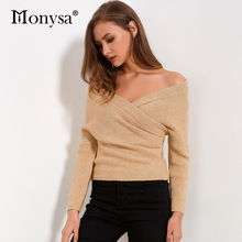 Off Shoulder Sweater Women 2017 Autumn New Arrivals Fashion Long Sleeve V Neck Knitted Sweaters Women Wrap Pullover Sweater(China)