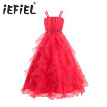 iEFiEL Kids Infant Girl Flower Dress New Tulle Flower Girl Party Princess Dresses Stone Royal Kids Evening Gown With Bustle(China)