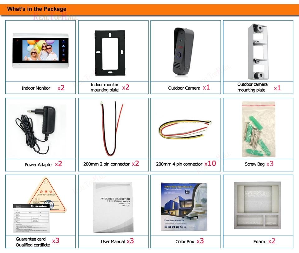 package of 10 Inch Video Door Phone Recording HD 1200TVL Doorbell Camera and HandsFree Monitor Intercom Door bell 1 camera 2 Monitors