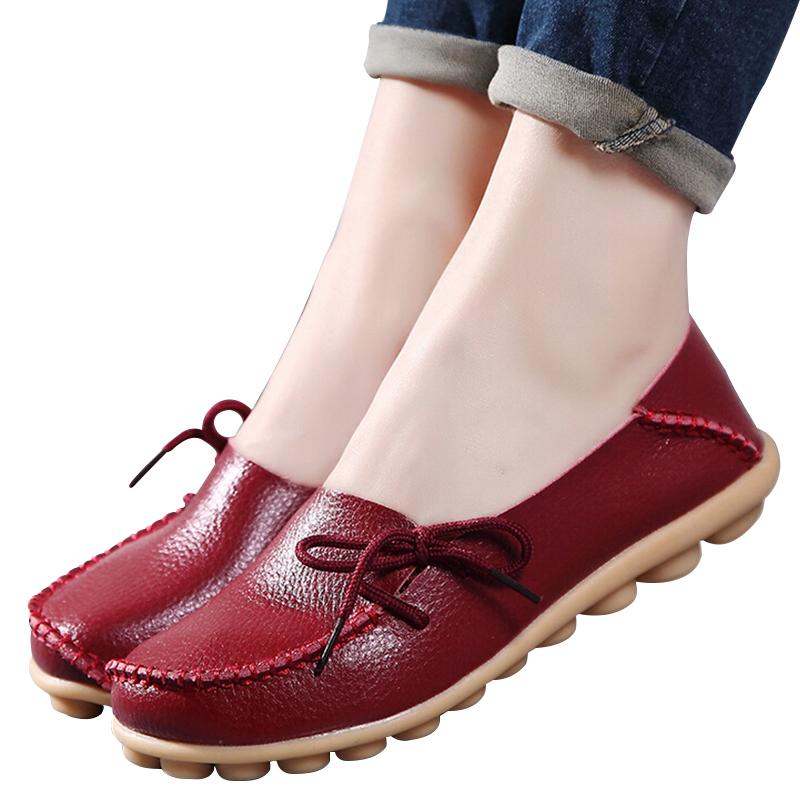Large size genuine leather Women shoes mother shoes girls lace-up fashion casual shoes comfortable breathable women flats SDC179<br><br>Aliexpress