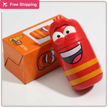 New Fashion Korean Larva Funny Bugs Lovely Cute Cartoon Red Vacuum Cup Flask Pitcher Pot Official Comedy Worm Child Student Gift(China)