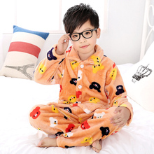 2016 New Autumn Winter Flannel Nightgown Children's Soft Pajamas Sets Boys Girls Warm Home Wear Character Warm Tracksuit(China)