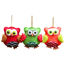 1pcs Plush Cotton Owl Decorations Christmas Tree Hanging Ornaments Xmas Festival Children Gift Toys for Home 12*12cm SD327