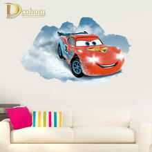 Red Cars 3D Wall Stickers For Kids Rooms Bedroom Vinyl Anime Poster Home Decoration Accessories Wallpaper Sticker