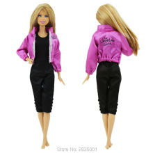 Handmade Sports Outfit Jacket Long Sleeves Coat Black Jumpsuit Doll Clothes For Barbie FR Kurhn 1:6 Puppet Accessories Toys Gift