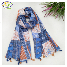 1PC 2016 Autumn New Design Japanese Style Flower Cotton Women Fashion Long Tassels Scarf  Woman New Cotton Viscose Pashminas