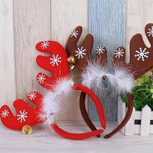 1pc Deer Head Hoop Christmas Hair Head Bell Red Antler Band Buckle Gifts Party Decoration Supplies A15(China)