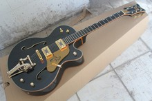 Factory Custom Black GRETSCH THE  FALCON 6120 Semi Hollow Body Jazz Korean Tuners Electric Guitar With Bigsby Tremolo 1411-11