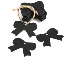 "DoreenBeads Paper Label Tags Black Bowknot Pattern Garment Tags Bags Shoes 49mm(1 7/8"") x 41mm(1 5/8""), 10 PCs"