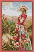 Top Quality Beautiful Lovely Counted Cross Stitch Kit Flowering Place Red Clothes Dress Girl Lady Woman lusa lucas