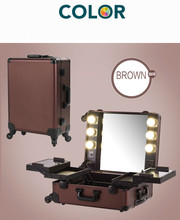 Coffee Makeup Artist Train Case with Lights Pro Station Portable Studio Wheeled Box Aluminum Cosmetic Case with Universal wheels(China)