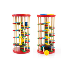 1 PC WoodenToys Color Knock Ball Off The Ladder Tables Toys Intelligence Development Children Educational Toys(China)