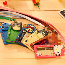 Silicone Card Case Holder Portable Cute Cartoon String Hello Kitty Metro ID Bus Identity Badge With Lanyard Porte Carte Credit