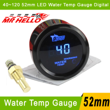 "Digital Water Temp Gauge 40~120 2"" 52mm Car Water Temp Temperature Gauge With Sensor Blue LED For 52mm Car Auto Gauge Meter(China)"