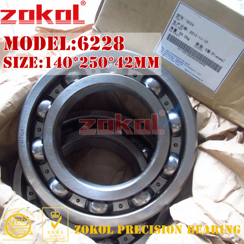 ZOKOL bearing 6228 228 open no dust cover Groove ball bearing 140*250*42mm<br>