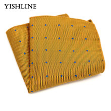 SF01-04 Men's Silk Handkerchief Yellow with Blue Dot Rolled Edged Pocket Square 22*22cm Wedding Business Party Chest Towel Hanky(China)