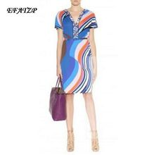 2015 Autumn Luxury Brands Jersey Silk Dress Women's Short Sleeve v-neck Blue Geometric Print Spandex Stretchable Signature