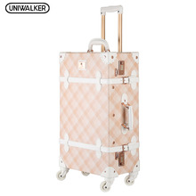"20"" - 26"" Spinner Wheels Pink Grating Valise Bagages Pu Leather Suitcase Women Trunk Vintage Luggages Rolling Luggage for Girls"