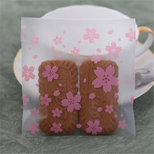 100 Pcs/lot Wedding Cookie Candy Bag Pink Transparent Cherry Blossoms Biscuits Cake Baking Bag Christmas Gift Packaging Bag