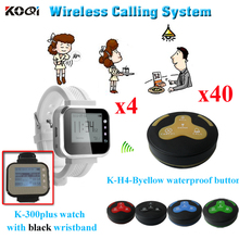 Restaurant Bell System Service Push Calling Button Alert By Sound Or Vibration ( 4 watch receiver + 40 waterproof table bell)(China)