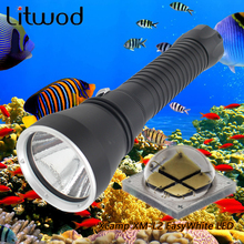 Litwod Z30D88 Diving Led Flashlight 5000LM Lamp XM-L2 EasyWhite LED Stepless Dimming Underwater Under Water 150m IPX8 Led Torch(China)