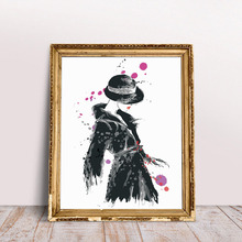 Abstract Watercolor Painting Banksy Fashion Single Lady Art Artwork Home Decor Decals Canvas Wall Pictures Living Room Unframed