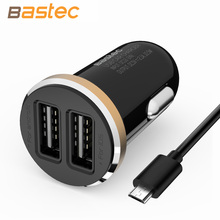 Bastec Original Fashion 5V 2A Micro Auto Universal Dual USB Car Charger Mini Car-charger Adapter for iPhone Samsung Xiaomi HTC