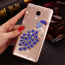 New 3D Crown flower bow bling Crystal diamond Cell Phone Shell back cover hard case For huawei honor 5X case(China)