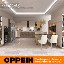 2016 new design hot sales customized kitchen cabinet white and golden color kitchen unit free design for you OP16-122B(China)