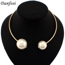 CC Brand Necklace Factory Price Women Torques Fashion Big Imitation Pearls Necklaces T Show Chokers Jewelry Free Shipping N1968(China)