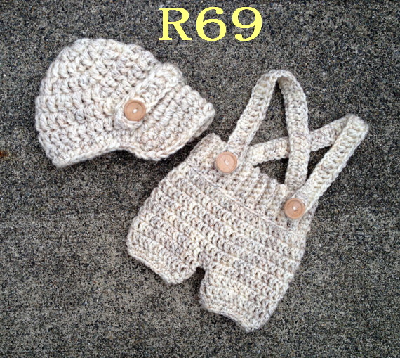 Free Shipping Handcrafted Crochet Baby Boy Hat With Diaper Cover Sets Newborn Newsboy