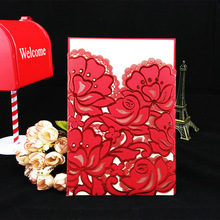 10Pcs/Set Romantic Wedding Party Laser Cutting Invitation Card Envelope Delicate Carved Pattern Provide Blank Inner Sheet
