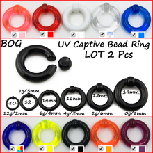 Pair UV Acrylic Big Large Size Giant Spring Load Captive Bead Ring Ear Tunnel Plug Expander Guauge Piercing Body Jewelry Earring