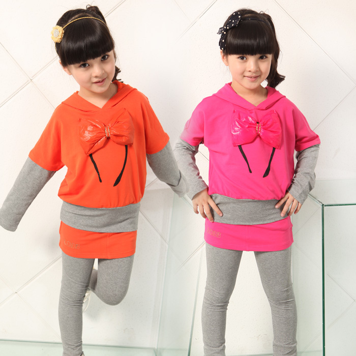 Free shipping Spring girl bowknot adornment two-piece cotton long sleeve T-shirt + leggings<br><br>Aliexpress