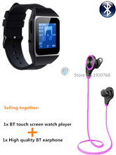 8GB watch MP4 player + Bluetooth headphones, bluetooth sport earphone wireless earbuds + bluetooth sport MP4 watch players(China)