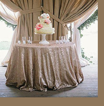 ShinyBeauty Silver Sequin Tablecloth 120 Round Champagne - Lots of colours Customize available
