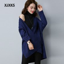 XJXKS Unique Pockets Women's Sweaters Ladies Clothing M-XL Loose Personalized Autumn And Winter Woman Cardigans Sweater(China)